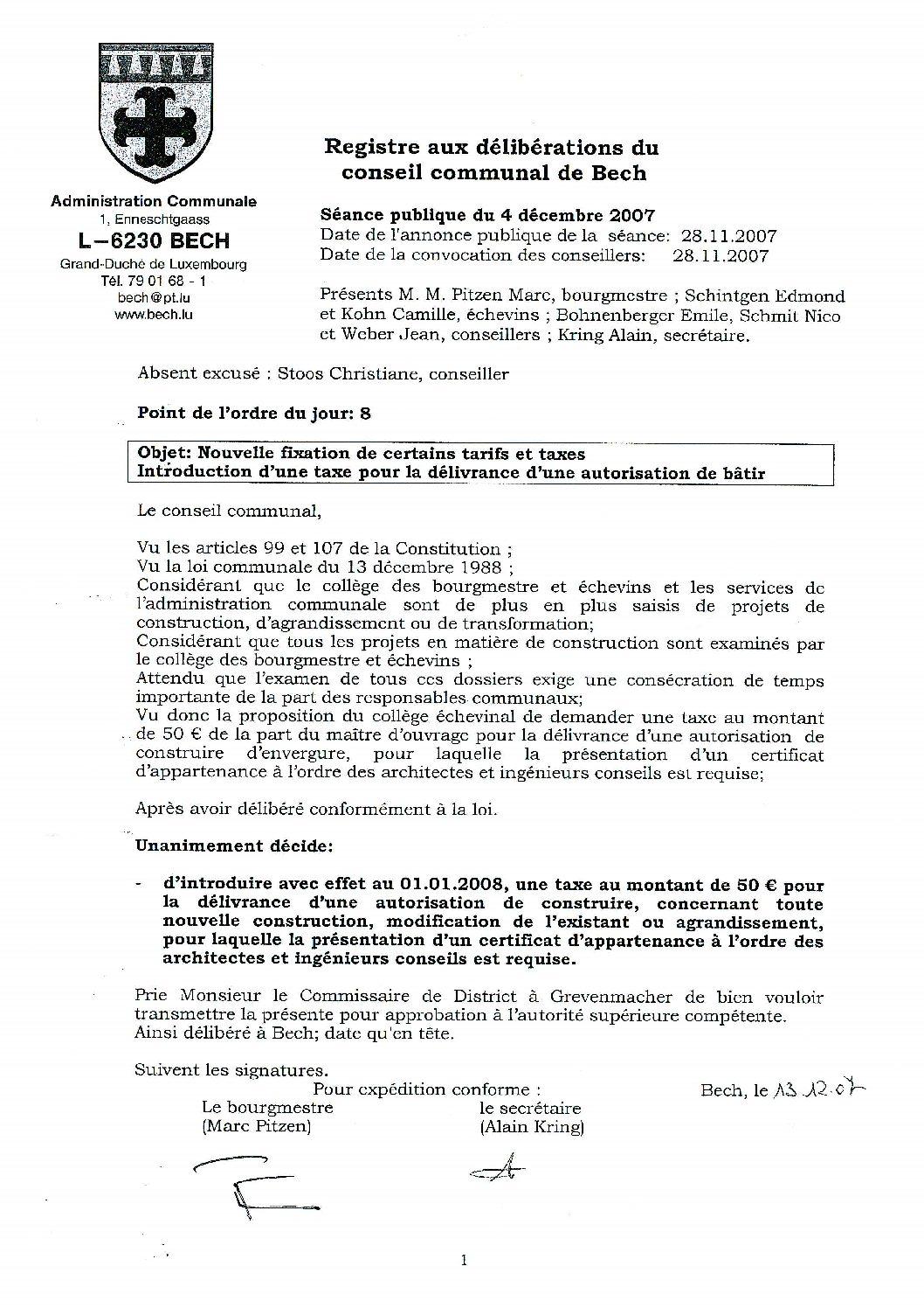 Taxe autorisation de construire (règlement)