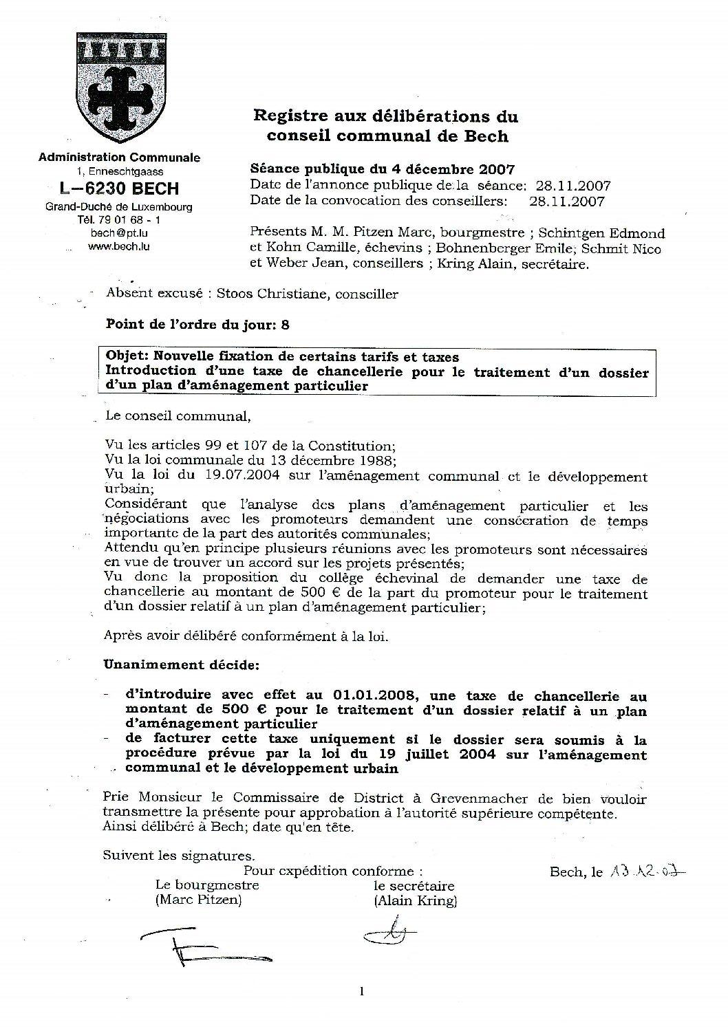 Taxe dossier PAP (règlement)