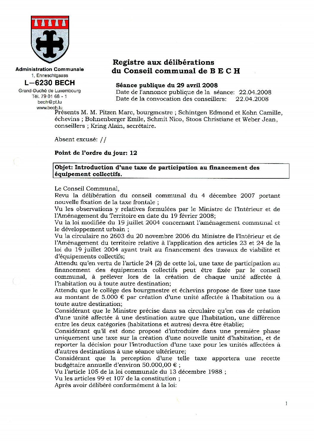 Taxe de participation au financement des équipements collectifs (règlement)