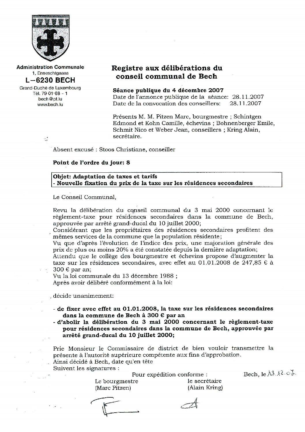 Taxe sur les résidences secondaires (règlement)